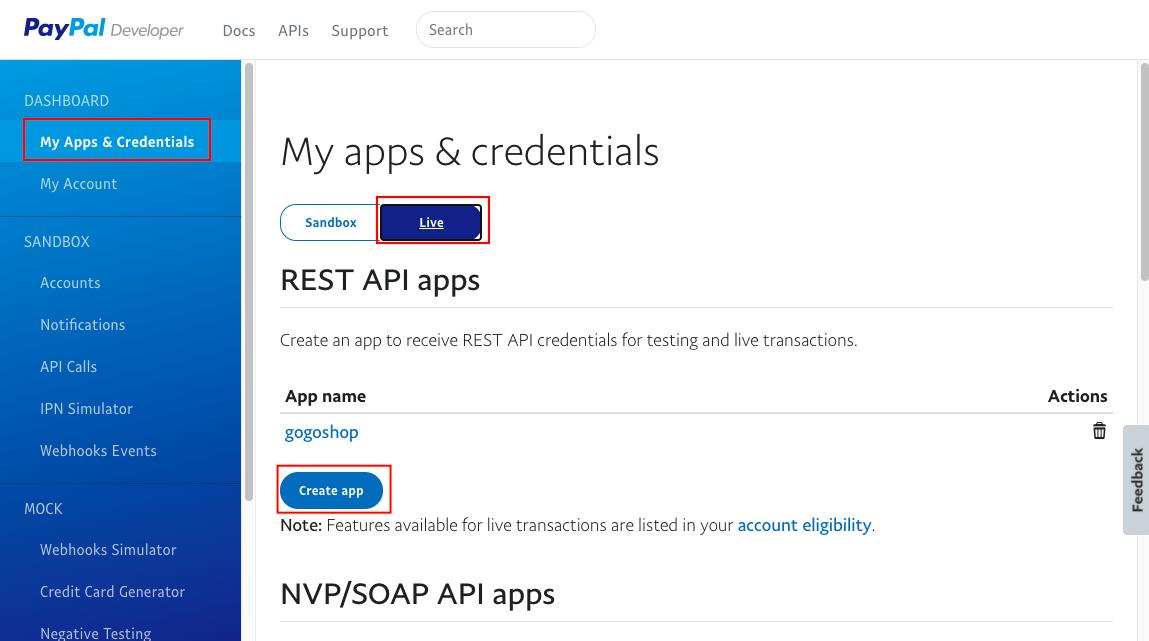 新增 paypal REST API apps
