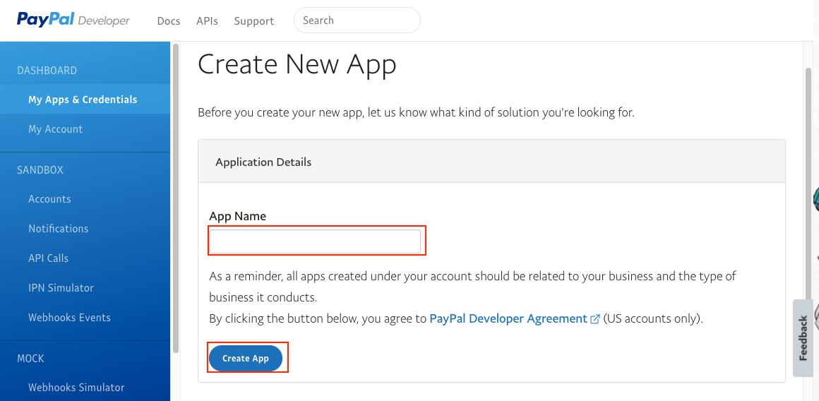 填寫 paypal REST API apps 名稱